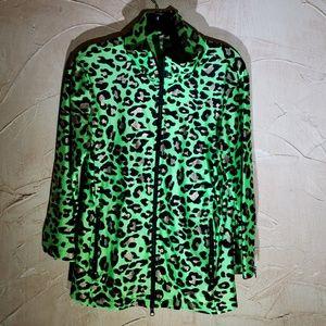 Berek Green Animal Print Light Jacket Large